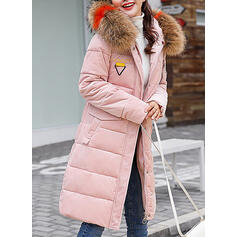 Cotton Long Sleeves Plain Down Coats