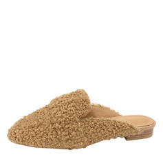 Frauen Veloursleder Flascher Absatz Flache Schuhe Geschlossene Zehe Slingpumps Pantoffel mit Andere Schuhe