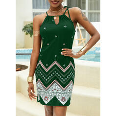 Print Sleeveless Sheath Above Knee Casual/Vacation Slip Dresses