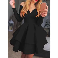 Solide Lange Mouwen A-lijn Boven de knie Vintage/Zwart jurkje/Feest/Elegant Jurken