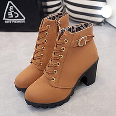 Femmes PU Talon bottier Bottines avec Boucle Dentelle chaussures