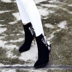 Donna Camoscio PU Tacco a spillo Stiletto Stivali Stivali altezza media con Cerniera Tacchi ingioiellati scarpe