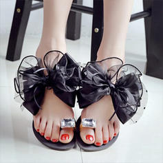 Women's PU Flat Heel Flats With Bowknot shoes
