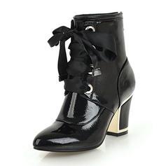 Femmes Similicuir Talon bottier Bottes Bottines avec Zip Dentelle chaussures