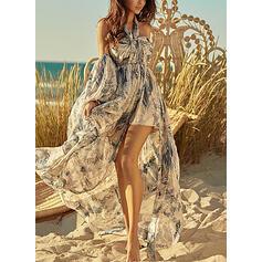 Print/Floral/Backless 3/4 Sleeves A-line Asymmetrical Boho/Vacation Skater Dresses