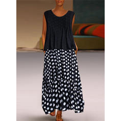 PolkaDot Sleeveless Shift Maxi Casual Dresses