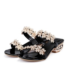 Real Leather Low Heel Sandals MaryJane Beach Wedding Shoes With Rhinestone