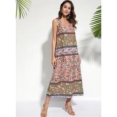Print/Floral Sleeveless Shift Casual/Boho/Vacation Midi Dresses