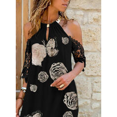 Lace/Floral/Animal Print Short Sleeves Shift Above Knee Casual/Vacation Tunic Dresses
