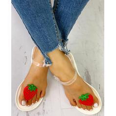 Mulheres PVC Sem salto Sandálias Peep toe com Fivela sapatos