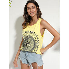 Print Ronde Hals Mouwloos Casual Tanks