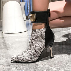 Women's Leatherette Stiletto Heel Ankle Boots With Buckle Animal Print Zipper shoes
