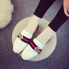 Mulheres Couro Sem salto Sandálias Sem salto Fechados Sapatos abertos com Fivela sapatos