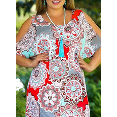 Print/Floral 1/2 Sleeves/Cold Shoulder Sleeve Shift Above Knee Casual/Boho/Vacation/Plus Size Dresses