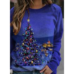 Print rund hals Lange ærmer Jule sweatshirt