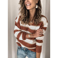 Striped Cable-knit Chunky knit V-Neck Sweaters