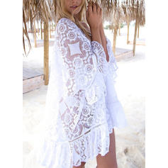 Solid Color Round Neck Fashionable Cover-ups Swimsuits
