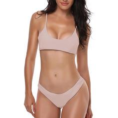 Couleur Unie À Bretelles Sexy Grande taille Bikinis Maillots De Bain