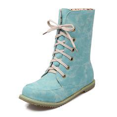 Femmes Similicuir Talon plat Chaussures plates Bout fermé Bottes Bottes mi-mollets avec Dentelle chaussures