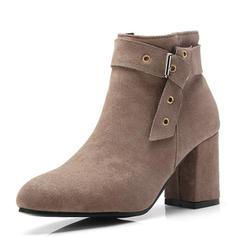 Femmes Suède Talon bottier Escarpins Bout fermé Bottes Bottines avec Boucle chaussures