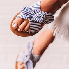 Mulheres PU Sem salto Sandálias Chinelos com Bowknot Oca-out sapatos