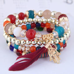 Fashionable Stylish Alloy Resin Feather Women's Fashion Bracelets (Set of 4)