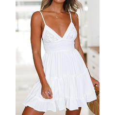 Lace/Solid Sleeveless A-line Above Knee Little Black/Sexy/Casual Dresses