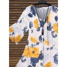 Impresión Floral Cuello en V Manga Larga Casual Blusas