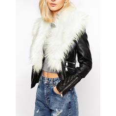 Leather Faux Fur Long Sleeves Plain Jackets