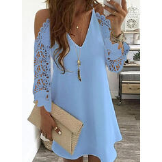 Lace/Solid Long Sleeves Shift Above Knee Little Black/Casual/Elegant Tunic Dresses