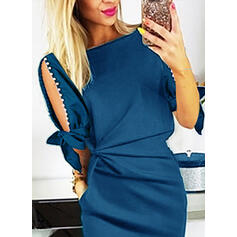 Solid 1/2 Sleeves/Cold Shoulder Sleeve Bodycon Knee Length Casual/Elegant Dresses