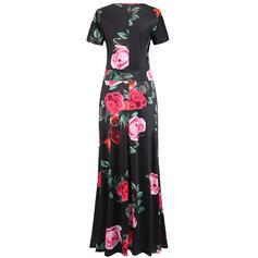 Plus μέγεθος Virágos Minta Rövidujjú Μια σειρά Maxi Ανέμελος Κομψός Φόρεμα