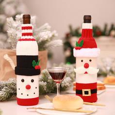 Merry Christmas Snowman Santa Knit Bottle Cover