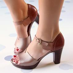 Női PU Chunky sarok Szandál Magassarkú Peep Toe -Val Csat cipő