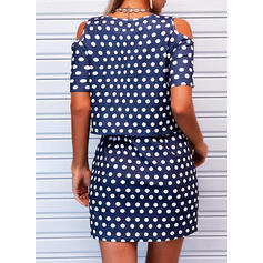 PolkaDot 1/2 Sleeves Sheath Above Knee Casual Dresses