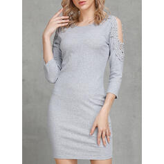 Solid 3/4 Sleeves Bodycon Above Knee Casual Sweater Dresses