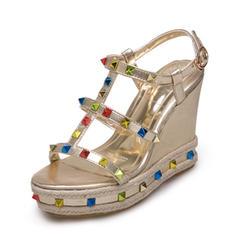 Femmes PU Talon compensé Sandales Compensée À bout ouvert Escarpins avec Strass chaussures