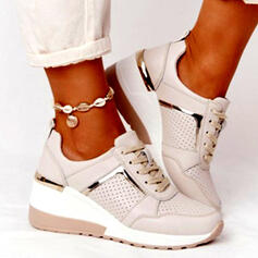 Donna PU Senza tacco Ballerine Sneakers con Allacciato Colore giuntura scarpe