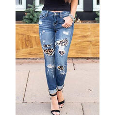 Patchwork Ripped Leopard Long Sexy Tribal Denim & Jeans