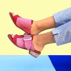 ПУ Квадратні підбори Сандалі взуття на короткій шпильці Тапочки з Пряжка взуття