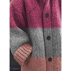 Färg block Klumpig stickning Fickor Hooded Casual Cardigan