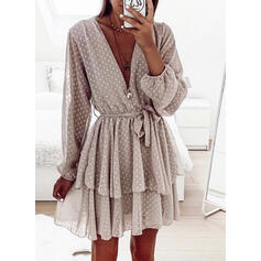 PolkaDot Long Sleeves A-line Above Knee Casual Skater Dresses