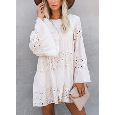 Solid Long Sleeves/Flare Sleeves Shift Above Knee Elegant Tunic Dresses