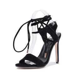 Women's Suede Stiletto Heel Sandals Pumps Peep Toe Slingbacks With Lace-up shoes