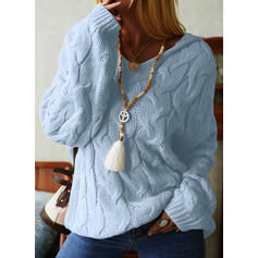 Solid Cable-knit Chunky knit Hooded Casual Sweaters