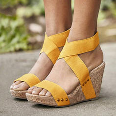 Women's Fabric Wedge Heel Sandals Wedges With Elastic Band shoes