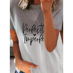 Degradada Corazón Impresión Carta Cuello Redondo Manga Corta Camisetas