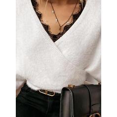 Jednolity Koronka Dekolt w kształcie litery V Casual Swetry
