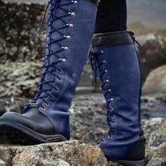Frauen PU Flascher Absatz Stiefel Kniehocher Stiefel mit Zuschnüren Schuhe
