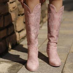 De mujer Cuero Tacón ancho Botas longitud media Dedo del pie puntiagudo con Cremallera Bordado zapatos